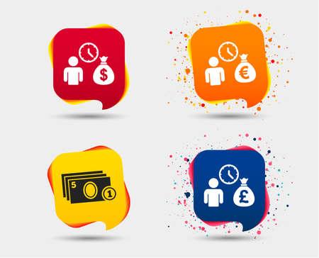 Bank loans icons. Cash money bag symbols. Borrow money sign. Get Dollar money fast. Speech bubbles or chat symbols. Colored elements. Vector illustration. Illustration