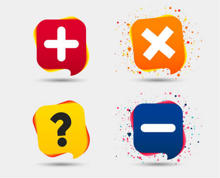 Plus and minus icons. Delete and question FAQ mark signs. Enlarge zoom symbol. Speech bubbles or chat symbols. Colored elements. Vector illustration.