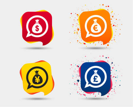 Money bag icons. Dollar, euro, pound and yen speech bubbles symbols. USD, EUR, GBP and JPY currency signs. Speech bubbles or chat symbols. Colored elements. Vector illustration.