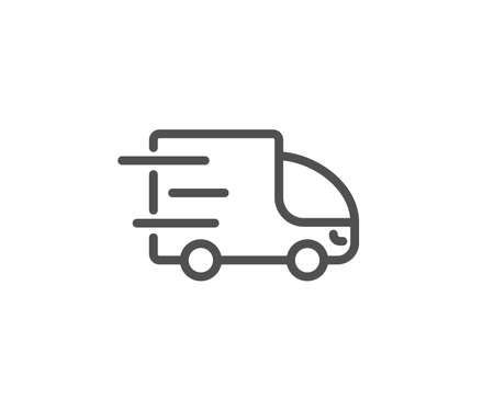 Truck delivery line icon. Express service sign. Transportation symbol. Quality design element. Editable stroke. Vector illustration.