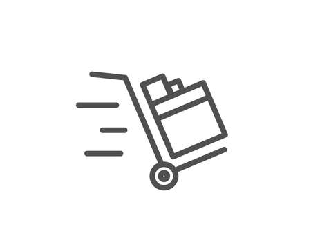 プッシュカートラインアイコン。配送サービスのサイン。エクスプレス配送シンボル。品質設計要素。編集可能なストローク。ベクトルのイラスト