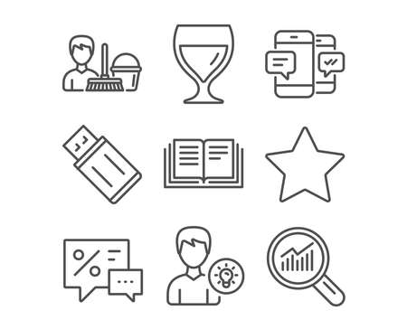 Set of smartphone sms, person idea and education icons. Discounts, wine glass and Usb flash signs. Cleaning service, star and data analysis symbols. Mobile messages, lamp energy, instruction book.