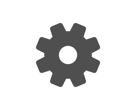 Cogwheel simple icon. Service sign. Transmission rotation mechanism symbol. Quality design elements. Classic style. Vector illustration.