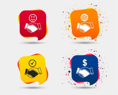 Handshake icons. World, smile happy face and house building symbol. Dollar cash money. Amicable agreement. Speech bubbles or chat symbols. Colored elements. Vector illustration.
