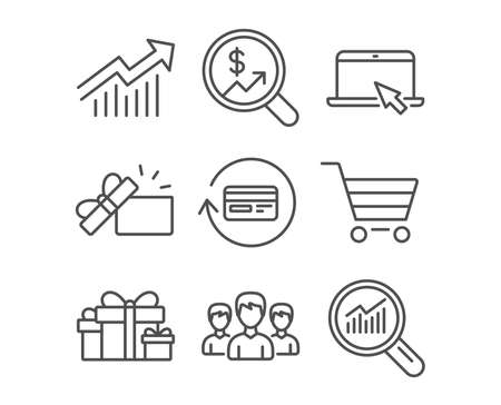 Set of holiday presents, Opened gift and portable computer icons. Group, refund commission and market sale signs. Demand curve, currency audit and data analysis symbols. Gift boxes. Present box. Stock Illustratie