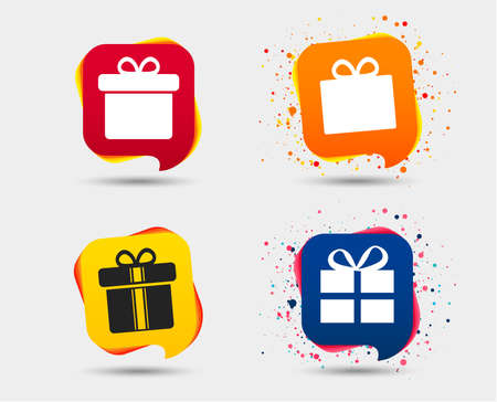 Gift box sign icons. Present with bow and ribbons sign symbols. Speech bubbles or chat symbols. Colored elements. Vector illustration.
