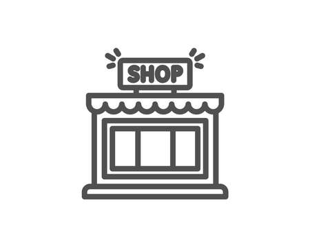 Shop line icon. Store symbol. Shopping building sign. Quality design element. Editable stroke. Vector illustration.