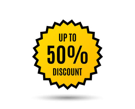 Up to 50% Discount. Sale offer price sign. Special offer symbol. Save 50 percentages. Star button. Graphic design element. Vector illustration.