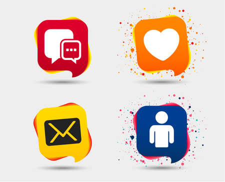 Social media icons. Chat speech bubble and Mail messages symbols. Love heart sign. Human person profile. Speech bubbles or chat symbols. Colored elements. Vector illustration.