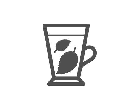 Mint Tea simple icon. Fresh herbal beverage sign. Mentha leaves symbol. Quality design elements. Classic style. Vector