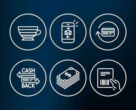 Set of Cappuccino, Dollar and Mail icons. Refund commission, Cashback card and Parcel invoice signs. Coffee cup, Usd currency, Smartphone communication. Cashback card, Money payment, Delivery document Illusztráció