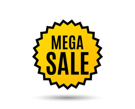 Mega Sale. Special offer price sign. Advertising Discounts symbol. Star button. Graphic design element. Vector Illustration