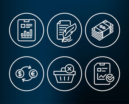 Set of Report document, Feather signature and Currency exchange icons. Usd currency, Delete purchase and Report checklist signs. Page with charts, Feedback, Banking finance. Vector Illustration
