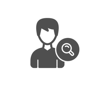 Search User simple icon. Profile Avatar with Magnifying glass sign. Male Person silhouette symbol. Quality design elements. Classic style. Vector