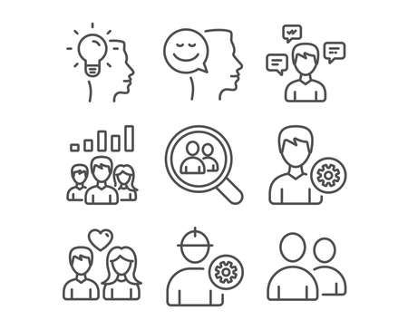 Set of Conversation messages, Engineer and Couple love icons. Idea, Teamwork results and Search employees signs. Good mood, Support and Users symbols. Vector