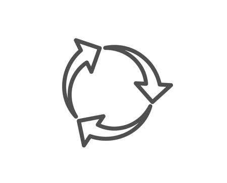 矢印の線アイコンをリサイクルします。リサイクル廃棄物シンボル。縮小して再利用する記号。品質設計要素。編集可能なストローク。ベクトル  イラスト・ベクター素材
