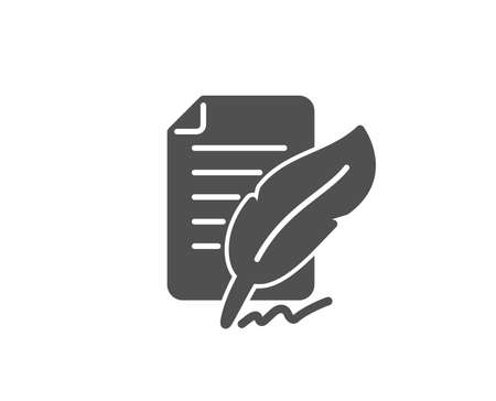 Feather signature simple icon. Copywriting sign. Feedback symbol. Quality design elements. Classic style. Vector