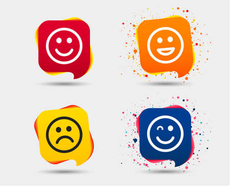 Smile icons. Happy, sad and wink faces symbol. Laughing lol smiley signs. Speech bubbles or chat symbols. Colored elements. Vector