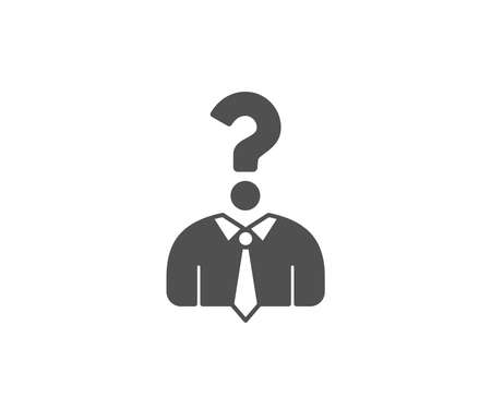 Business head hunting simple icon. Question sign. Human resources symbol. Quality design elements. Classic style. Vector Vectores