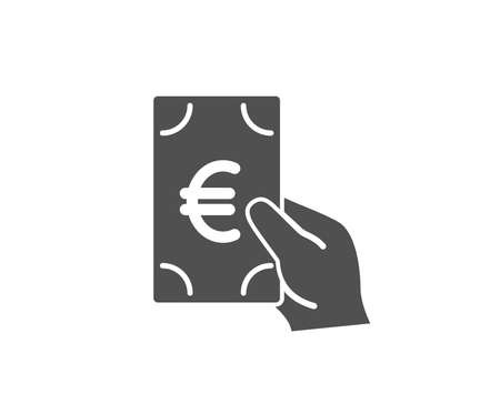 Hold Cash money simple icon. Banking currency sign. Euro or EUR symbol. Quality design elements. Classic style. Vector