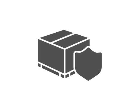 Delivery insurance simple icon. Parcels tracking sign. Shipping box symbol. Quality design elements. Classic style. Vector
