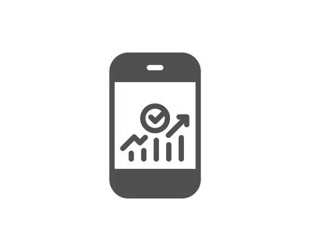 Smartphone Audit or Statistics simple icon. Business Analytics with charts symbol. Quality design elements. Classic style. Vector Illustration