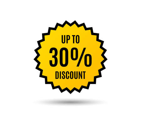 Up to 30% Discount. Sale offer price sign. Special offer symbol. Save 30 percentages. Star button. Graphic design element. Vector Illustration