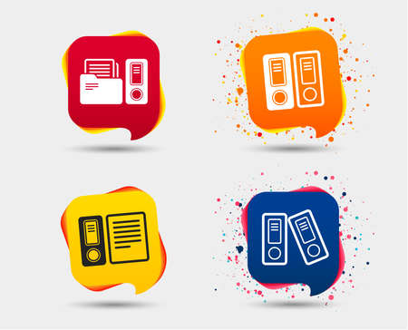 Accounting icons. Document storage in folders sign symbols. Speech bubbles or chat symbols. Colored elements. Vector