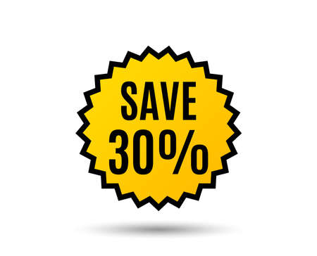 Save 30% off. Sale Discount offer price sign. Special offer symbol. Star button. Graphic design element. Vector