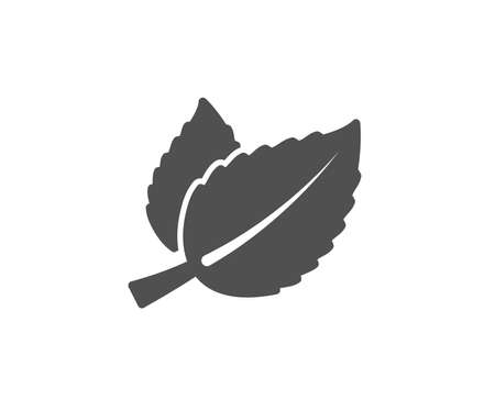 Mint leaves simple icon. Herbal leaf sign. Tea with Mentha symbol. Quality design elements. Classic style. Vector Banco de Imagens - 95456235