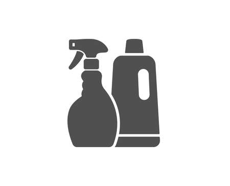 Cleaning spray and Shampoo simple icon. Washing liquid or Cleanser symbol. Housekeeping equipment sign. Quality design elements. Classic style. Vector
