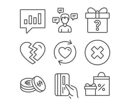 Set of Secret gift, Break up and Savings icons. Payment card, Conversation messages and Update relationships signs. Close button, Analytical chat and Shopping symbols. Unknown package. Divorce