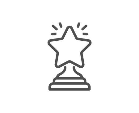 Rank star line icon. Success reward symbol. Best result sign. Winner cup. Quality design element. Editable stroke. Vector