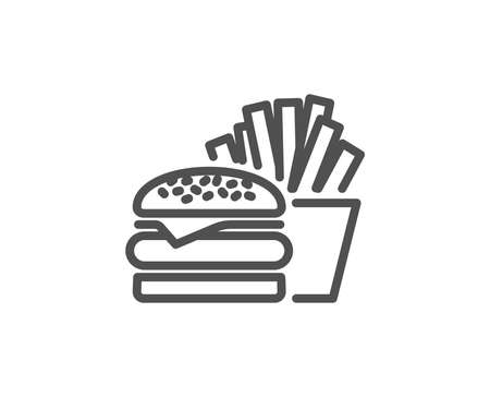 Burger with fries line icon. Fast food restaurant sign. Hamburger or cheeseburger symbol. Quality design element. Editable stroke. Vector