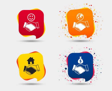 Handshake icons. World, Smile happy face and house building symbol. Dollar cash money bag. Amicable agreement. Speech bubbles or chat symbols. Colored elements. Vector