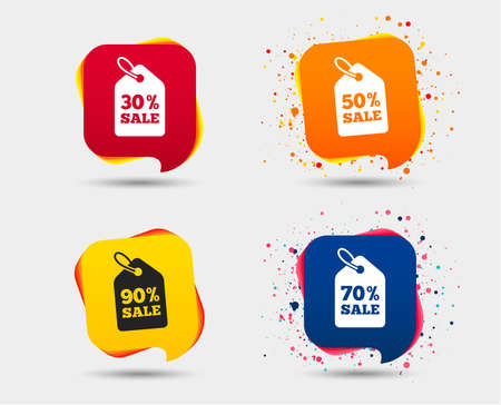Sale price tag icons. Discount special offer symbols. 30%, 50%, 70% and 90% percent sale signs. Speech bubbles or chat symbols. Colored elements. Vector 向量圖像