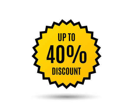 Up to 40% Discount. Sale offer price sign. Special offer symbol. Save 40 percentages. Star button. Graphic design element. Vector 向量圖像