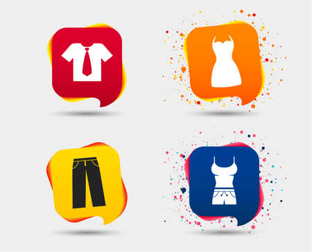 Clothes icons. T-shirt with business tie and pants signs. Women dress symbol. Speech bubbles or chat symbols. Colored elements. Vector