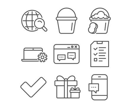 Set of Browser window, Sponge and Internet search icons. Bucket, Surprise package and Notebook service signs. Interview, Tick and Smartphone message symbols. Website chat, Cleaner bucket, Web finder