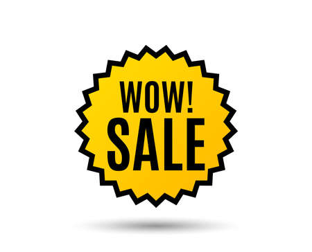 Wow Sale. Special offer price sign. Advertising Discounts symbol. Star button. Graphic design element. Vector Illustration