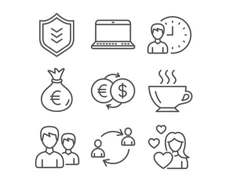Set of Money exchange, Working hours and Notebook icons. User communication, Couple and Shield signs. Money bag, Coffee and Love symbols. Eur to usd, Project deadline, Laptop computer. Vector Illustration