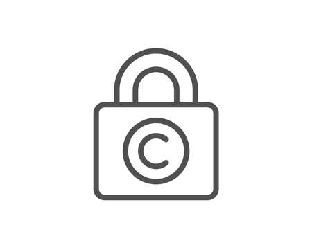 �¡opyright locker line icon. Copywriting sign. Private Information symbol. Quality design element. Editable stroke. Vector