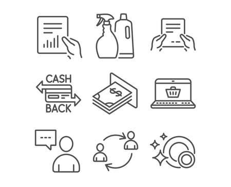 Set of Shampoo and spray, Users chat and Online shopping icons. Cashback card, Document and User communication signs. Atm money, Receive file and Clean dishes symbols. Washing liquids. Vector Illustration