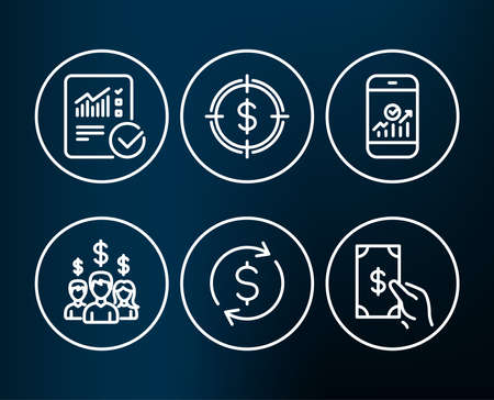 Set of Dollar exchange, Dollar target and Checked calculation icons. Smartphone statistics, Salary employees and Receive money signs. Banking rates, Aim with usd, Statistical data. Vector Ilustração