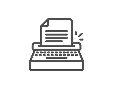 Typewriter line icon. Copywriting sign. Writer machine symbol. Quality design element. Editable stroke. Vector