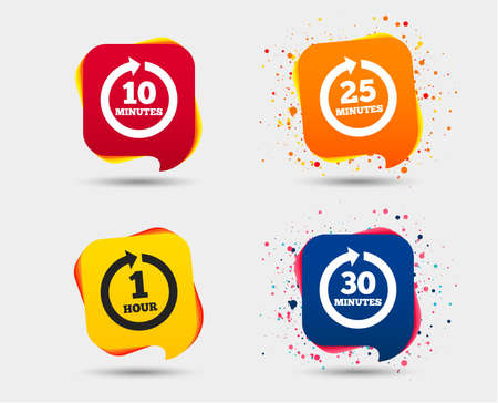 Every 10, 25, 30 minutes and 1 hour icons. Full rotation arrow symbols. Iterative process signs. Speech bubbles or chat symbols. Colored elements. Vector