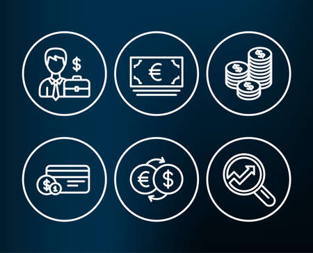 Set of Payment method, Money exchange and Euro currency icons. Coins, Businessman case and Analytics signs. Cash or non-cash payment, Eur to usd, Eur banking. Vector
