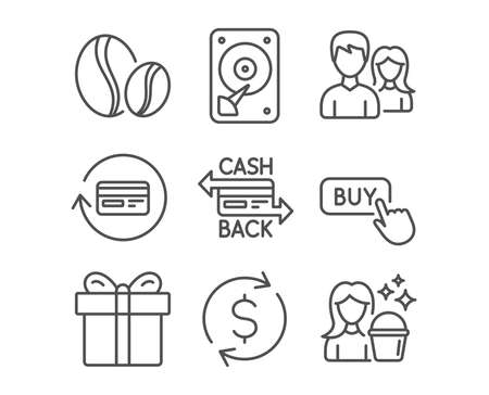 Set of Cashback card, Hdd and Teamwork icons. Coffee beans, Buy button and Gift box signs. Refund commission, Dollar exchange and Cleaning symbols. Money payment, Hard disk, Man with woman. Vector Illustration