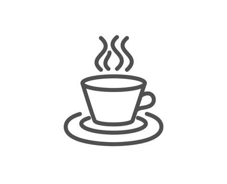 Tea or Coffee line icon. Hot drink sign. Fresh beverage symbol. Quality design element. Editable stroke. Vector Banco de Imagens - 95456910