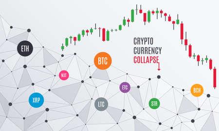 暗号通貨の崩壊または危機。ローソク足チャート。アルトコインズバブルが破裂した。証券取引所市場。ベクトル